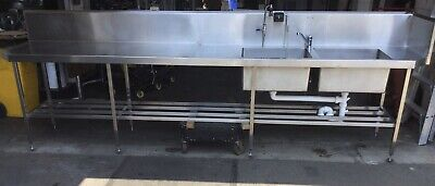 Commercial Kitchen Cafe Stainless Twin Bowl Sink & Prep Bench 3760mm X 700mm