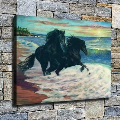 """12""""x16"""" Two Black Horses Paint HD Canvas prints Home decor Room Wall art Picture"""