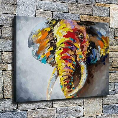 "12""x16"" Abstract Elephant Paint HD Canvas print Home decor Room Wall art Picture"