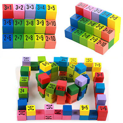 Wooden Multiplication Table Math Board Game Toy Child Early Educational Learn WS