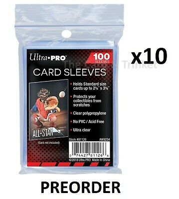 1000 Ultra PRO Soft Sleeves Penny Card Protectors Clear 10 x 100ct