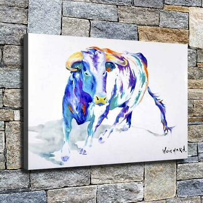 """12""""x18"""" Watercolor Cow Paints HD Canvas prints Home decor Room Wall art Pictures"""