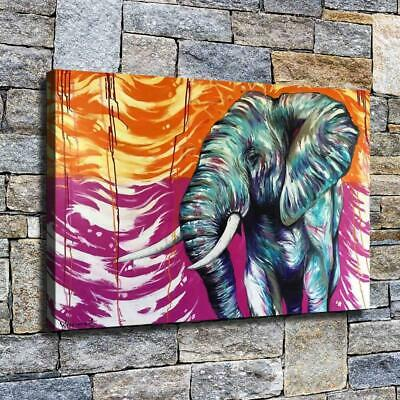 "12""x20"" Toned Elephant Painting HD Canvas print Home decor Room Wall art Picture"