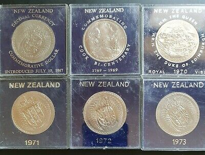 1967,69,70,71,72,73 New Zealand Cased UNC LARGE One Dollar Coins..6 x Coins...