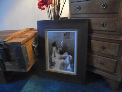 GOOD SIZED 17 X 14 INCHES art deco style sepia print in frame glamour photo