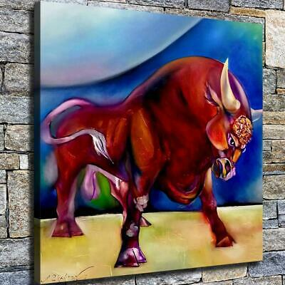 "12""x12"" Abstract Bull Paints HD Canvas prints Home decor Room Wall art Pictures"