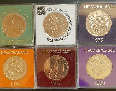 1974, 74, 75, 76,77 78 New Zealand Cased UNC LARGE One Dollar Coins. 6 x Coins..