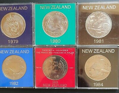 1979,80,81,82,83,84 New Zealand Cased UNC LARGE One Dollar Coins. 6 x Coins..