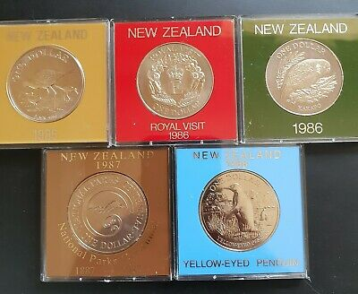 1985,86,86,87,88 New Zealand Cased UNC LARGE One Dollar Coins. 5 x Coins..