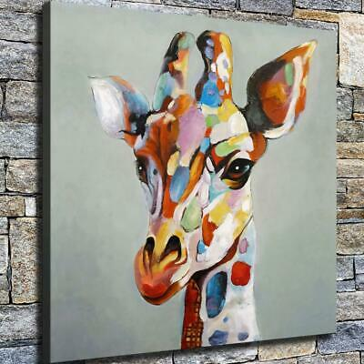 "12""x12"" Giraffe Head Painting HD Canvas prints Home decor Room Wall art Pictures"