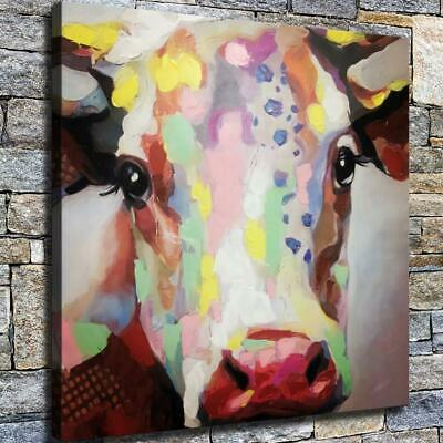 """12""""x12"""" Spotted Cow Paintings HD Canvas prints Home decor Room Wall art Pictures"""