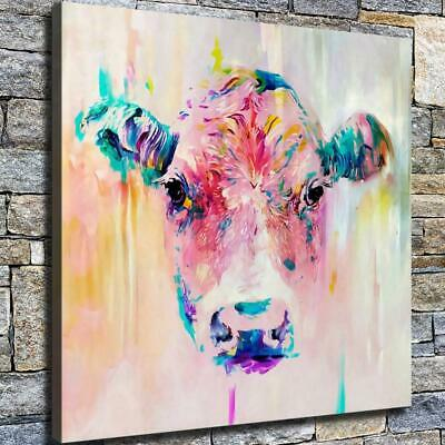 """12""""x12"""" Pink Cow Paintings HD Canvas prints Home decor Room Wall art Pictures"""