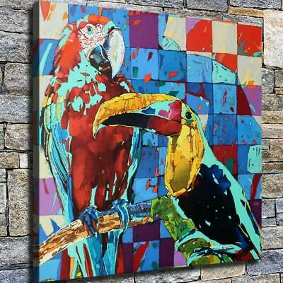 "12""x12"" Two Parrots Paintings HD Canvas prints Home decor Room Wall art Pictures"