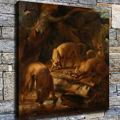 "12""x12"" A Nest of Foxes Paint HD Canvas prints Home decor Room Wall art Pictures"