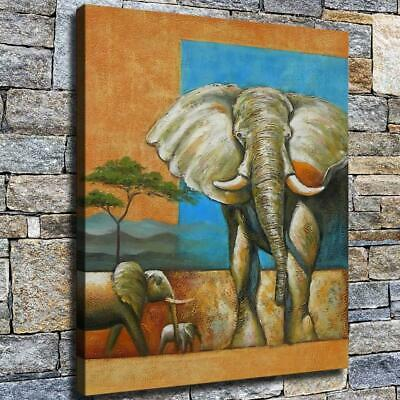 "12""x14"" Elephant Family Paint HD Canvas prints Home decor Room Wall art Pictures"