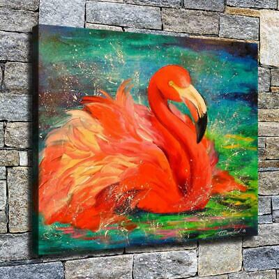 """12""""x14"""" Lying Flamingo Paints HD Canvas prints Home decor Room Wall art Pictures"""