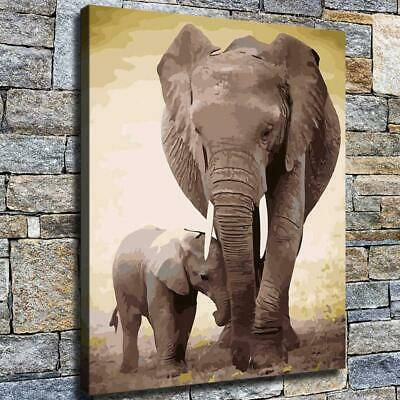 "12""x16""Elephant Mother and Child HD Canvas print Home decor Room Wall art Poster"
