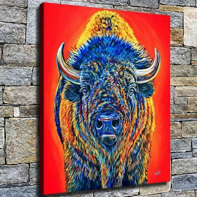 """12""""x16"""" Hairy Buffalo Paintings HD Canvas print Home decor Room Wall art Picture"""