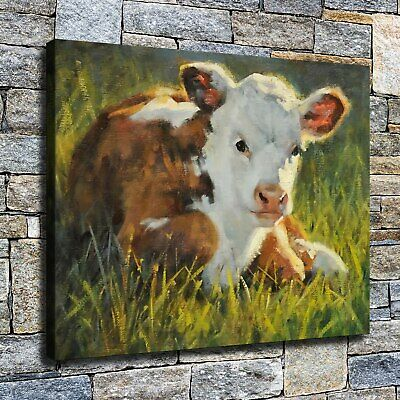 """12""""x16"""" Animals Calf Paintings HD Canvas prints Home decor Room Wall art Picture"""