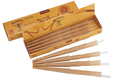 HORNET 160 X 1 1/4 Natural Unrefined Pre-Rolled Rolling Paper Classic Cones