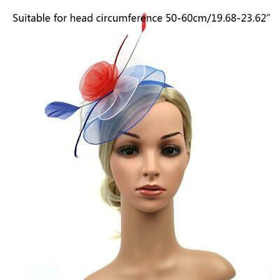 WomenAmerican USA Flag Colored Fascinators Hat Netting Flower Feather Hair Clip