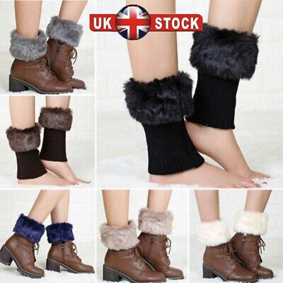 Fashion Ladies Boot Cuff Fluffy Soft Furry Faux Fur Leg Warmer Toppers Boot Sock