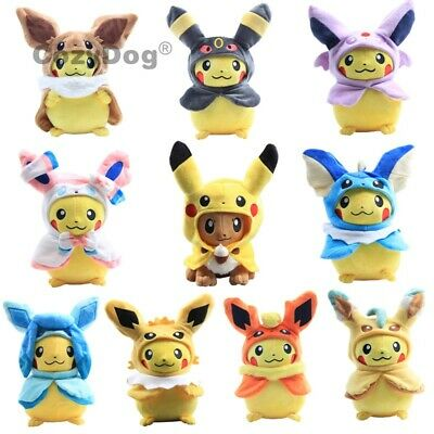 Pokemon Plush Toys Pikachu Cosplay Eevee Vaporeon Jolteon  Umbreon Stuffed Doll
