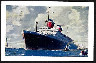 "Lovely old USA ship postcard - ""S.S. America"" - sent from New York to Israel"
