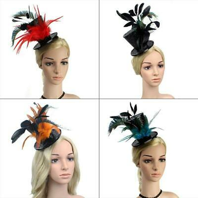 Womens Steampunk  Victorian Sequins Mini Top Hat with Feathers Cosplay HairClips