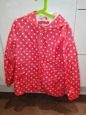 John Lewis Girls Pink And White Spotty Waterproof Jacket Age 8 VGC