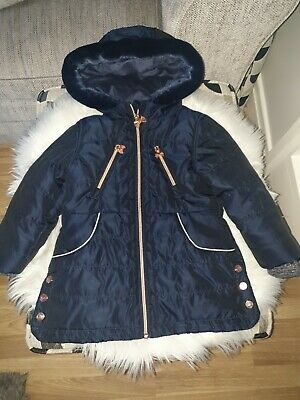 Girls Gorgeous Ted Baker Blue Hooded Winter Coat Jacket 3-4 Years