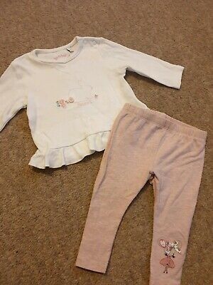 Baby Girl Outfit Age 3-6months Junior J & Mothercare Leggings & Top bunny rabbit