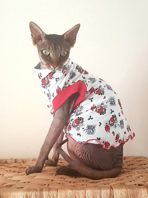 small adult CHRISTMAS cat jumper for a Sphynx  cat, Sphynx clothes, jumper .