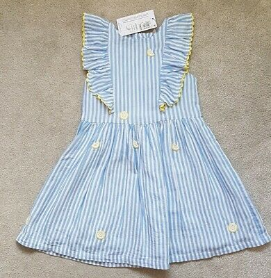 BNWT Girls blue Lined Dress 5-6 Years M&S rrp £16 Marks Spencer lemon