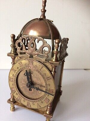 A Vintage Smiths 8 Day Brass Lantern Clock With Key Working Order Unpolished