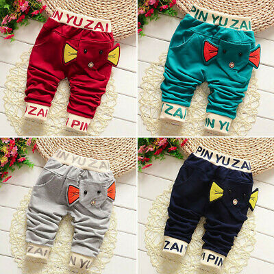 Toddler Baby Pants Kids Boys Character Letter Pants Trousers Clothes 3-24 Months