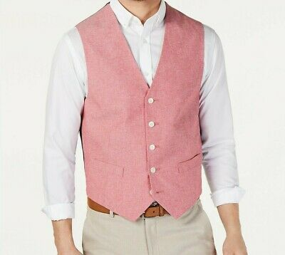 Tommy Hilfiger Mens Modern Fit Chambray Suit Vest Light Red XL