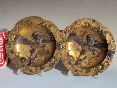 Museum Quality!! Pair of Japanese Antiques Bronze Copper Mixed Metal Dishes