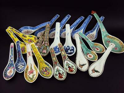 23 X Chinese Antiques Oriental Porcelain Blue White Famille Rose Bowl Spoons