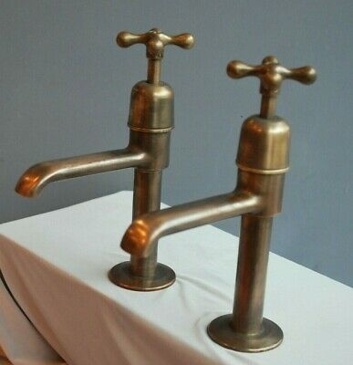 Brass Belfast Kitchen Sink Pillar Taps Dark Patina Reclaimed & Fully Refurbed
