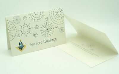Masonic Christmas Greeting Card with Square, Compasses and G, Snowflakes Design
