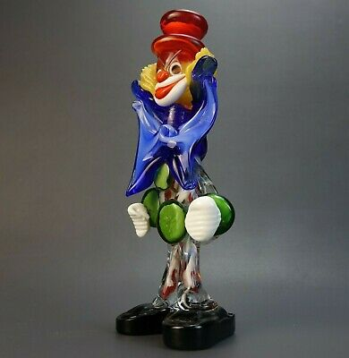 Murano Hand Blown Art Glass Clown Figurine Italy Original KB w/ STICKER