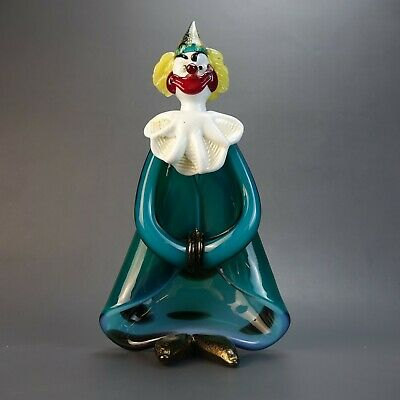 Murano Hand Blown Art Glass Clown w/ Cape Figurine Italy Original w/ STICKER