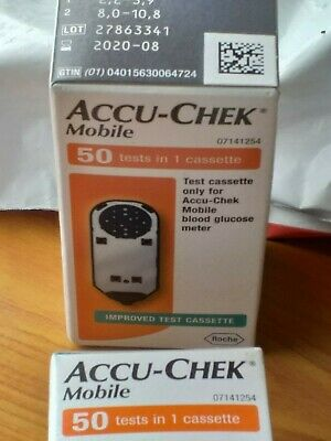2 Boxes Accu-Chek Mobile Cassettes 100 Tests Exp Feb 2020 Blood Glucose Meter