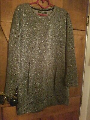 Next Long Sleeve Sparkly Silver Tunic 12 Christmas Party