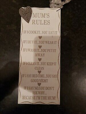 """""""Mum's Rules"""" Quote Wall Plaque/Sign."""