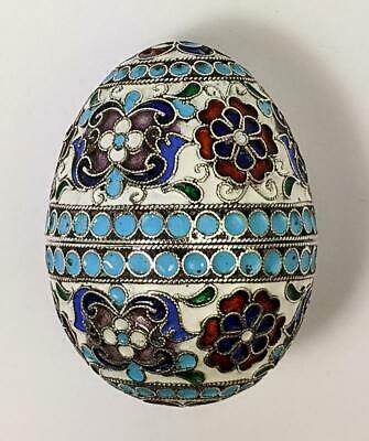 RUSSIAN Antique SILVER CLOISONNE ENAMEL EASTER EGG c1890 MOSCOW