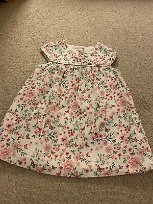 Primark Baby Girls White &pink Lined Floal Cap Sleeved Dress 9-12 Months