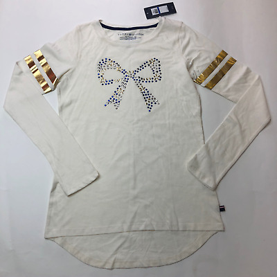 NWT $32 Tommy Hilfiger Embellished Bow Top Girls Size XL 16 Long Sleeve Shirt