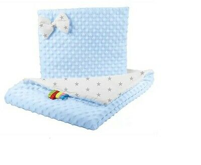 """BLUE"" Double sides bedding with bow- american minky - toddler size - all sesons"